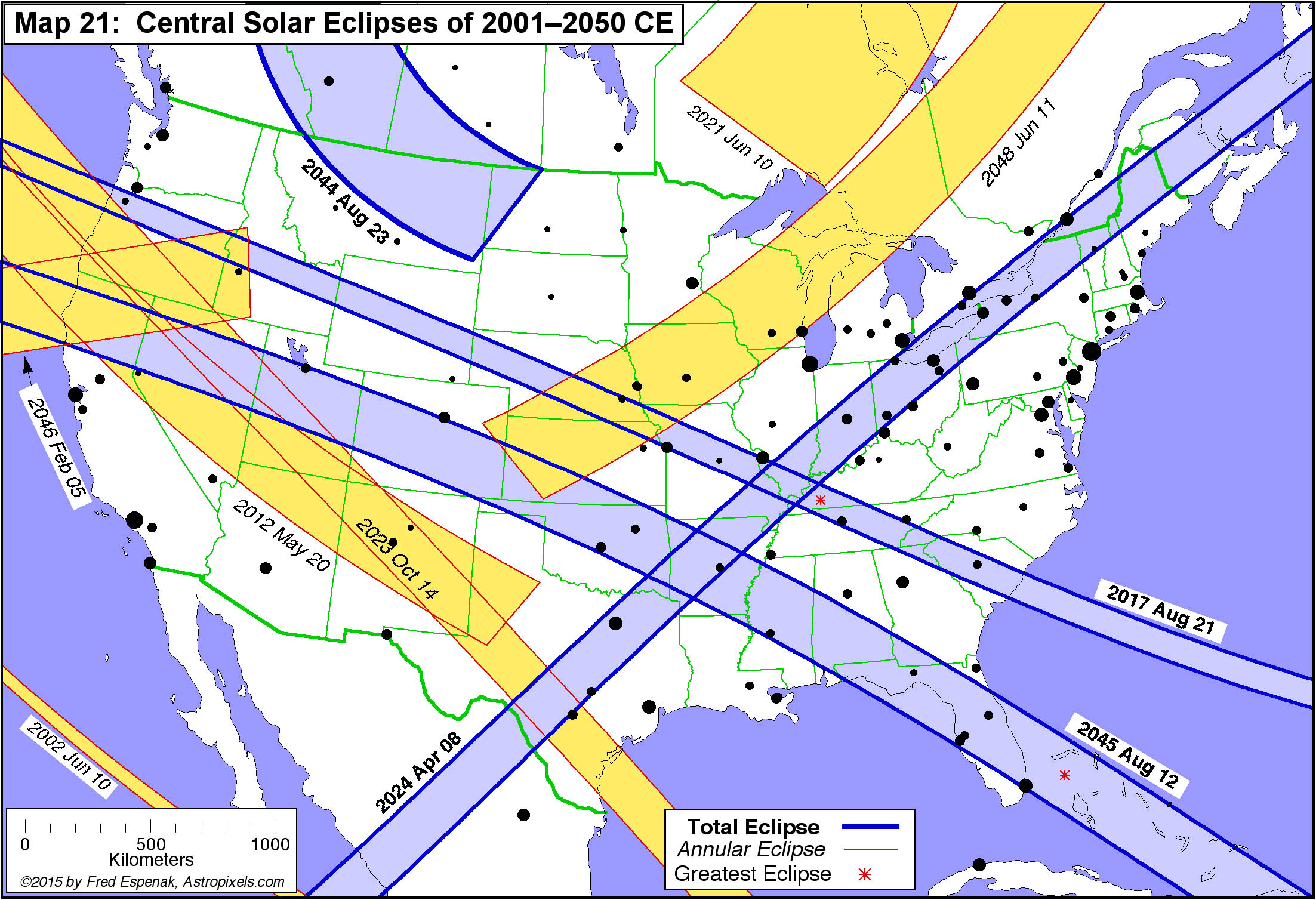 Atlas Of Central Solar Eclipses In The USA - Solar map us