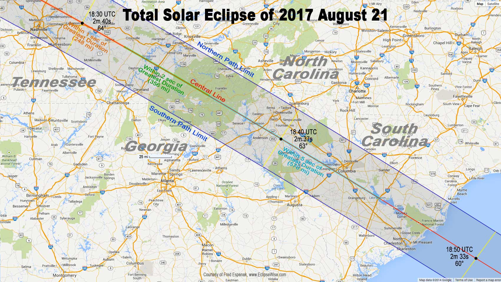 2017 Total Solar Eclipse Map Total Eclipse of the Sun: August 21, 2017