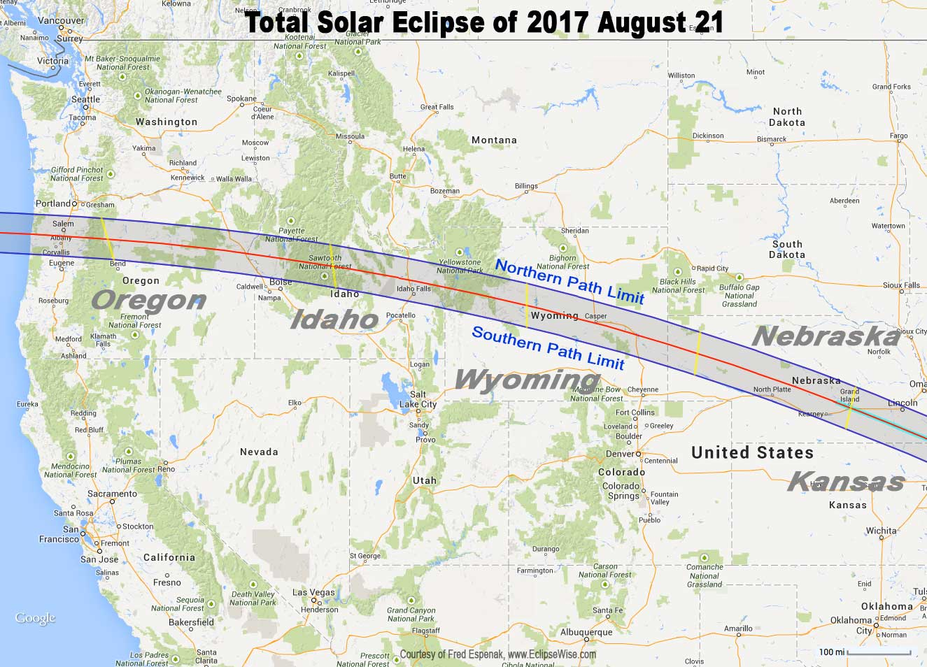 Total Eclipse Of The Sun August - Map of west usa states