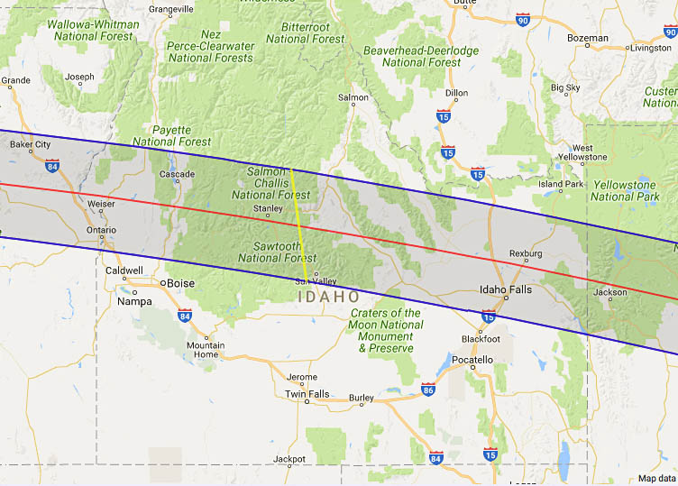 Total Solar Eclipse In Idaho - Map of idaho with cities