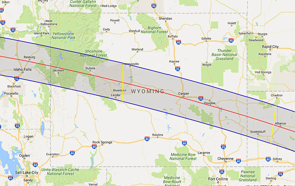 Total Solar Eclipse In Wyoming - Map of wyoming cities