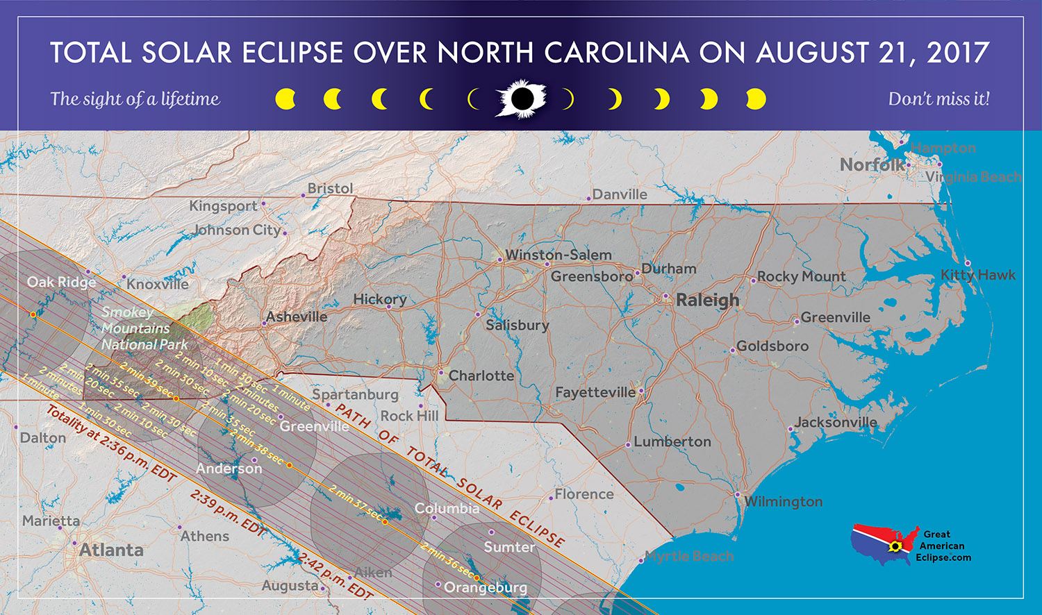 Total Solar Eclipse In North Carolina - Total eclipse us coverage map