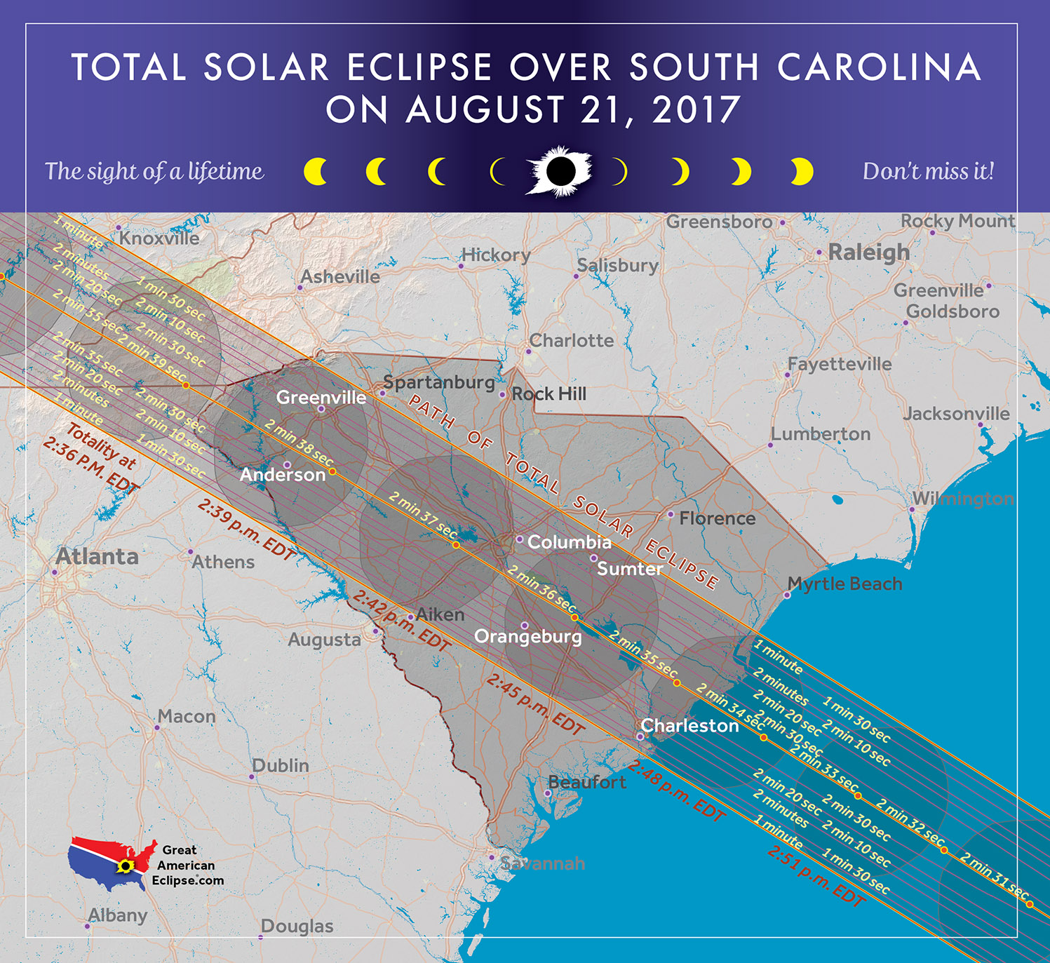 Total Solar Eclipse In South Carolina - Road map of north and south carolina