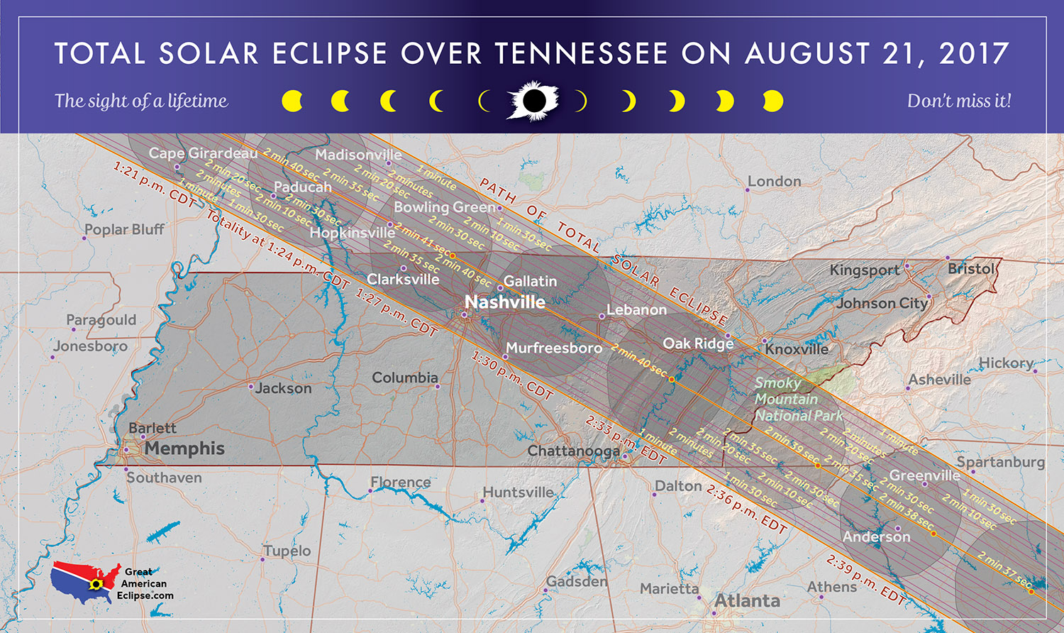 Total Solar Eclipse In Tennessee - East tennessee map